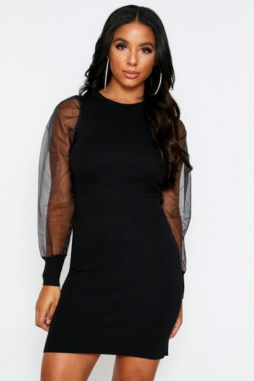 Black Organze Sleeve Knitted Dress