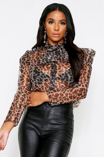 Womens Brown Organza Leopard Pussy Bow Shirt