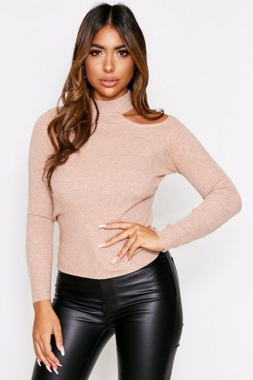 Beige Cut Out Shoulder Rib Knit Jumper
