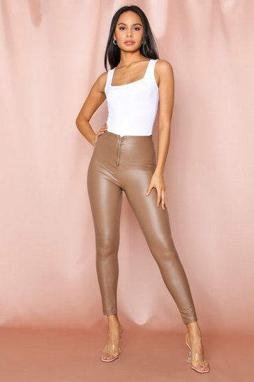 Beige Leather look O-Ring Zip Trouser