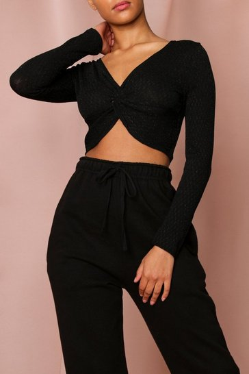 Black Twist Front Top