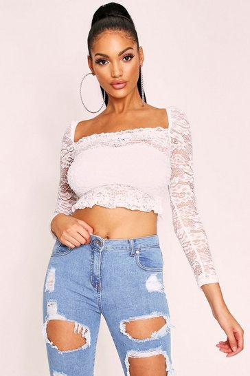 White Lace Bardot Top