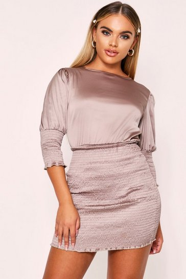 Womens Taupe Shirred Dress