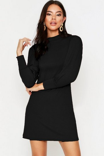 Womens Black Puff Sleeve Swing Dress