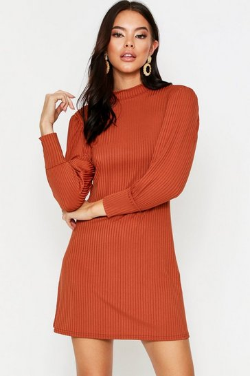 Rust Puff Sleeve Swing Dress