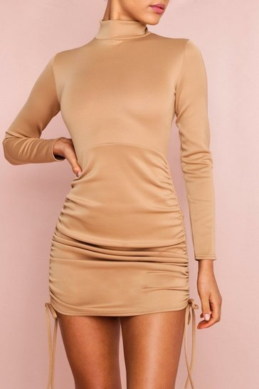 Womens Camel Scuba Ruched Side Dress