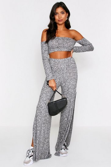 Womens Grey Rib Cropped Wide Leg Coord