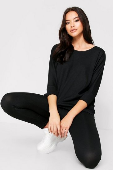 Womens Black Oversized Batwing Lounge Set
