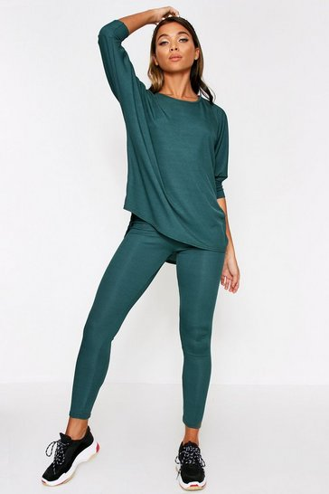 Womens Emerald Oversized Batwing Lounge Set