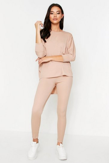 Womens Stone Oversized Batwing Lounge Set