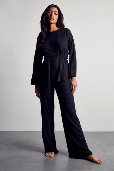 Black Longline Rib Wide Leg Lounge Set