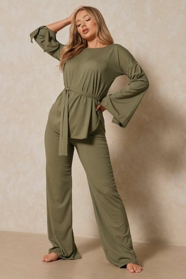 Khaki Longline Rib Wide Leg Lounge Set