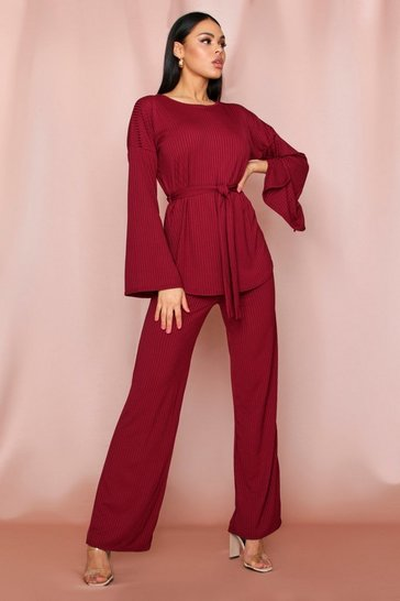 Wine Longline Rib Wide Leg Lounge Set