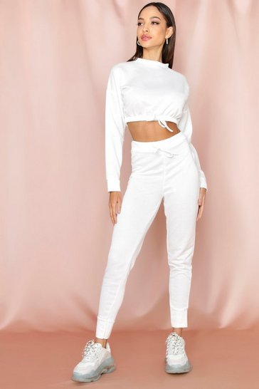 Womens Cream Cropped Sweat Lounge Set
