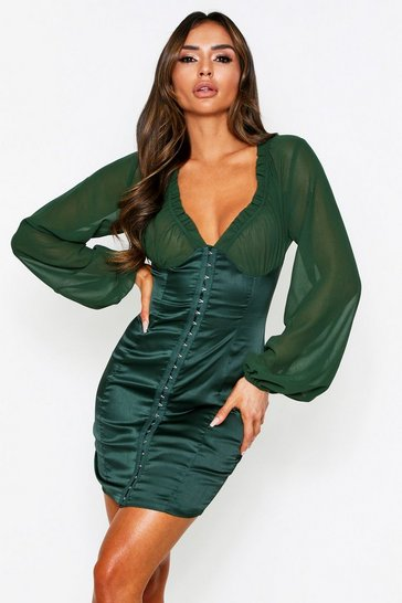 Womens Emerald Hook & Eye Detail Chiffon Sleeve Dress