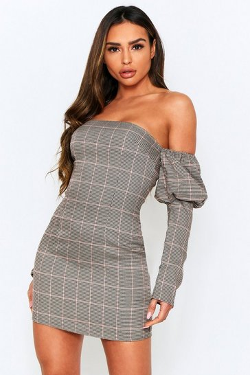 Stone Checked Square Neck Puff Sleeve Dress