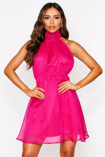 Fuchsia High Neck Cut Out Side Chiffon Skater Dress