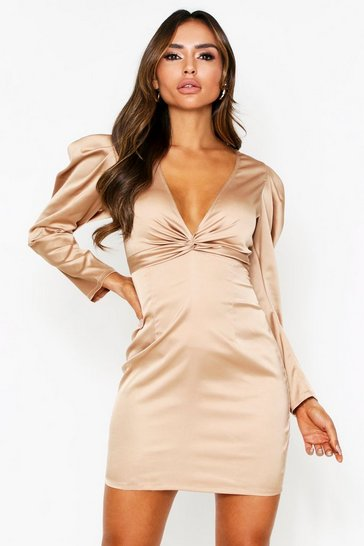 Taupe Twist Front Plunge Satin Dress