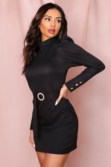 Black High Neck Puff Shoulder Belted Dress