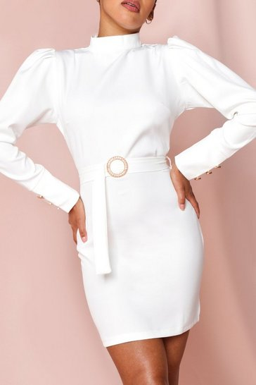 Womens White High Neck Puff Shoulder Belted Dress
