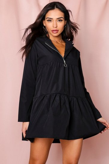 Black Zip Neck Tiered Smock Dress