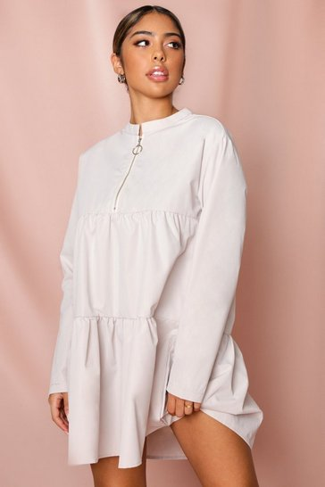 Stone Half Zip Tiered Smock Dress