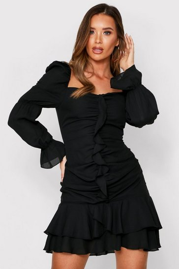 Black Puff Shoulder Frill Detail Dress