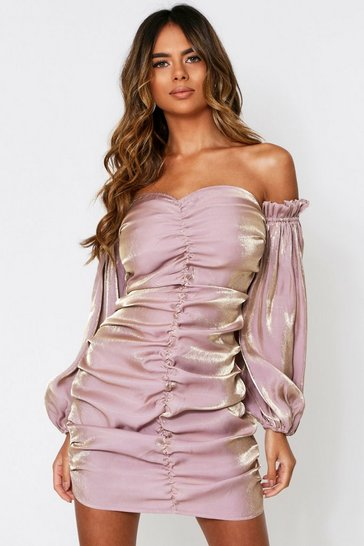 Womens Champagne Metallic Satin Ruched Front Bardot Dress