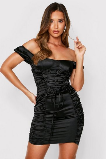 Black Satin Cupped Lace Up Ruched Dress