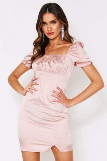 Womens Champagne Satin Ruched Puff Shoulder Dress