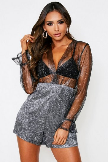 Black Mesh Glitter Playsuit