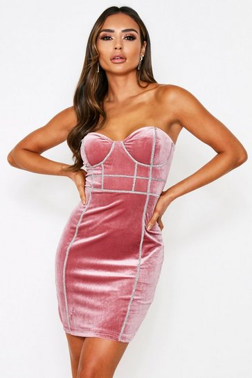 Blush Mini Velvet Bandage Dress
