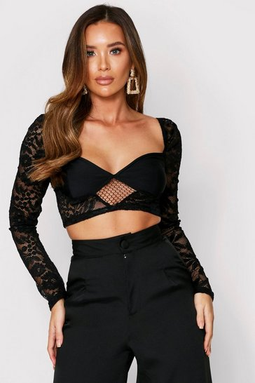 Black Lace Crop Long Sleeve Top