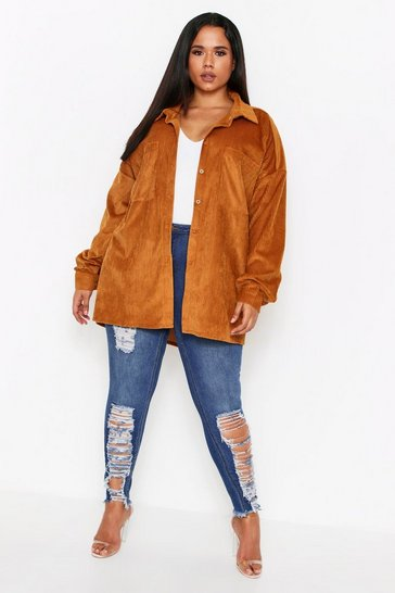Tan Chunky Cord Oversized Shirt