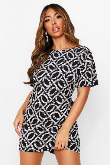 Black Chain Print Short Sleeve Shift Dress