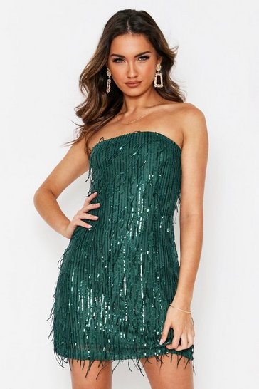 Green Sequin Tassel Bandeau Dress