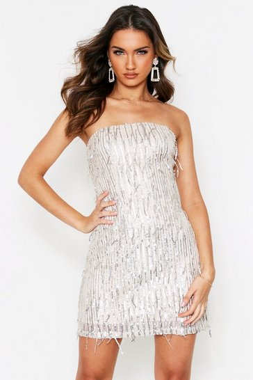 Silver Sequin Tassel Bandeau Dress
