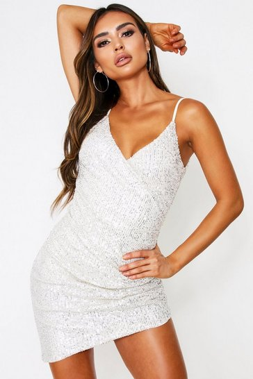 Womens Silver Sequin Ruched Wrap Dress