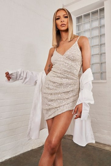 Womens White Sequin Ruched Wrap Dress