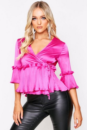 Womens Fushia Pleated Hem Satin Wrap Top