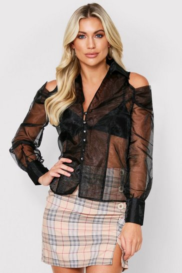 Womens Black Cutout Shoulder Organza Shirt