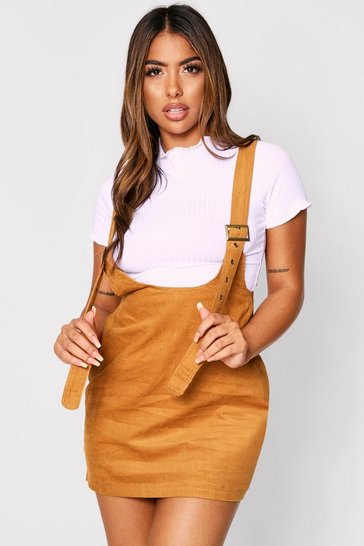 Camel Buckle Detail Cord Pinafore Dress
