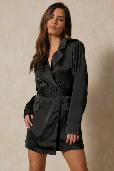 Black Asymmetric Satin Blazer Playsuit