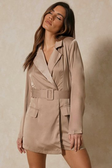 Taupe Asymmetric Satin Blazer Playsuit