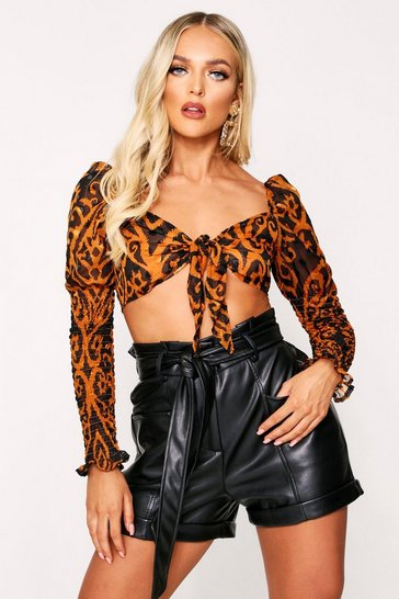 Womens Orange Abstract Print Puff Sleeve Tie Front Top