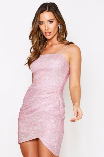 Womens Pink Glitter Cami Ruched Side Mini Dress