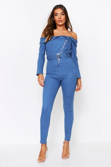 Denim Bandeau Belted Jumpsuit