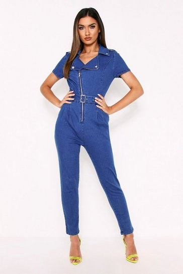 Womens Denim Zip Front Belted Jumpsuit