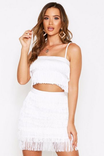 White Tassel Fringe Mini Skirt Coord Set