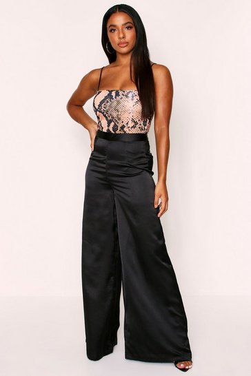 Womens Black Highwaisted Extreme Wideleg Satin Trousers
